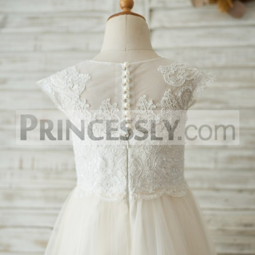 c6f43004a0a Discount Cap Sleeves Ivory Lace Champagne Tulle Flower Girl Dress ...