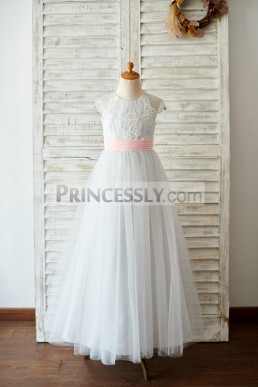 df3d7a20235 Cut-price Sheer Cap Sleeves Silver Gray Tulle Wedding Flowergirl Gown