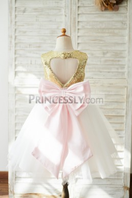 db4c64a15 Affordable Gold Sequin Pink Satin Bow Ivory Tulle Party Flower-girl Dress