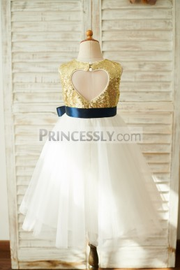 ac3bce0985a Affordable Keyhole Back Gold Sequins Ivory Tulle Party Flower Girl Dress