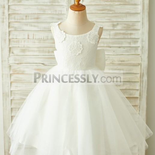 b66acea1753 Cheap Princess 3D Flowers Straps Bow Ivory Lace Tulle Flower Girl Dress