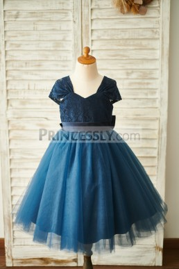 91549dedfc96 Acceptable Cap Sleeves Backless Navy Blue Lace Tulle Flower Girl Dress