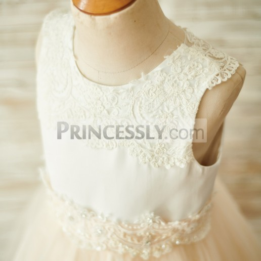 b1097b4e5cb Budget Ivory Lace Satin Champagne Tulle Beaded Buttons Wedding Flower Girl  Dress