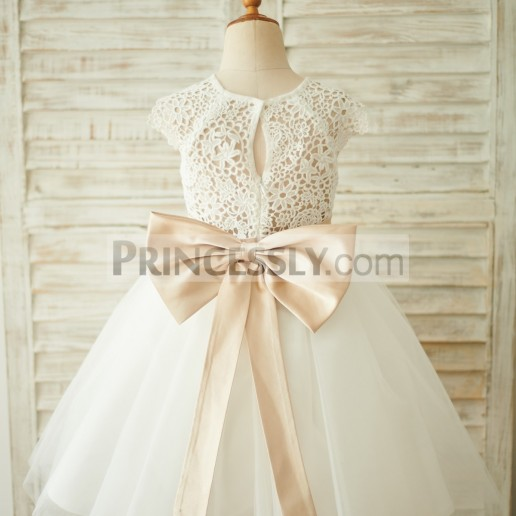 320796c0fd8 On Sale Cap Sleeves Ivory Lace Tulle Bow Belt Wedding Flower Girl Dress