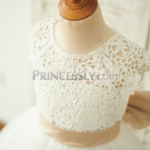 502d0512cbc On Sale Cap Sleeves Ivory Lace Tulle Bow Belt Wedding Flower Girl Dress
