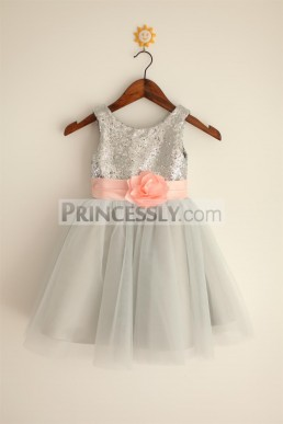92cbbf91e33 Bargain Sequin Pleated Belt Tulle Silver Grey Wedding Flowergirl Dress