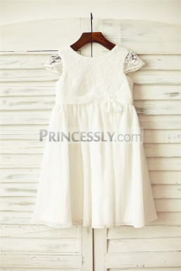 78f1eae85a2 Affordable Cap Sleeves Lace Chiffon Ivory Flower Girl Dress w  Buttons