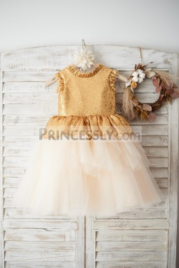 6d9c3314aa Cut-rate Gold Sequin V Back Champagne Tulle Cupcake Flower Girl Dress