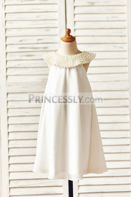 9fc4cc7dbf60 Affordable Beaded Neck Bohemian Beach Chiffon Ivory Flower Girl Dress