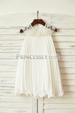 09ed7df99690 Affordable Beaded Neck Pleated Boho Ivory Chiffon Flower Girl Dress